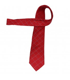 krawat jedwabny red grid