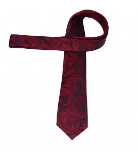 krawat jedwabny paisley wine