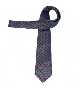 krawat jedwabny grey chequer