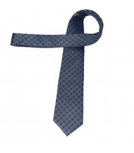 krawat jedwabny grey-blue chequer