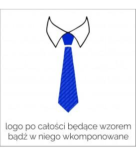 krawat z logo po całości