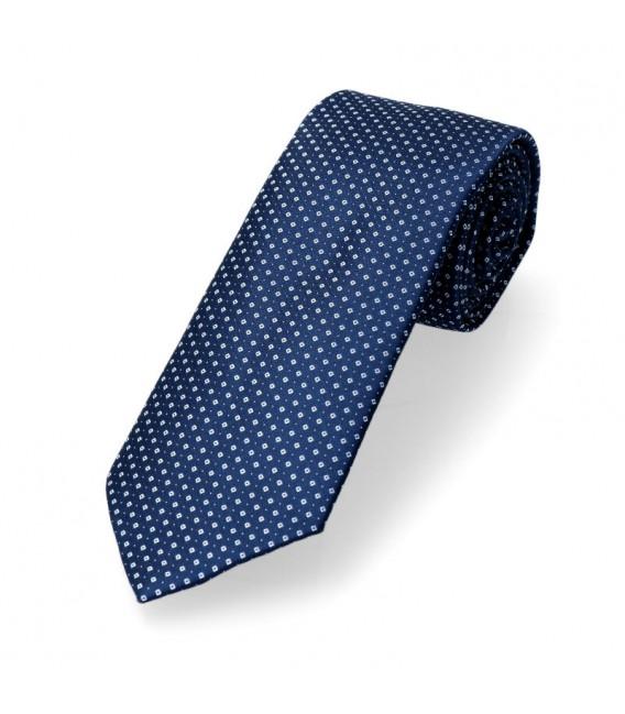krawat klasyczny granat w białe kropeczki