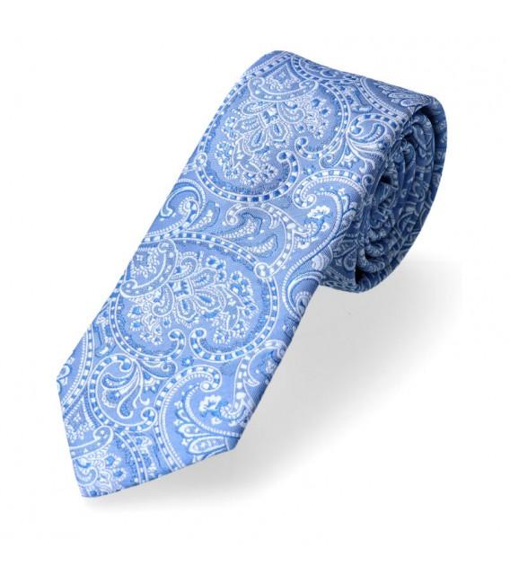 krawat błękitny paisley
