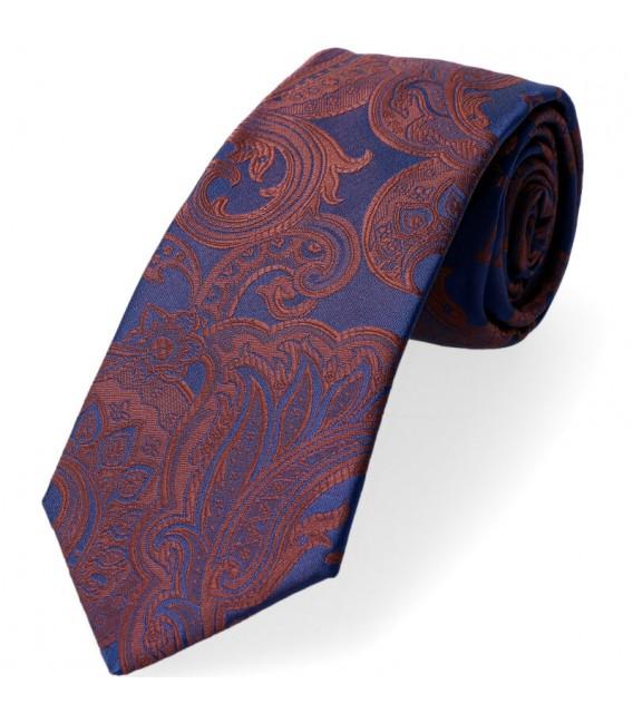 krawat duży brązowy wzór paisley
