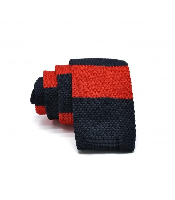 navy blue- red knit tie