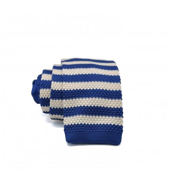 blue- cream knit tie