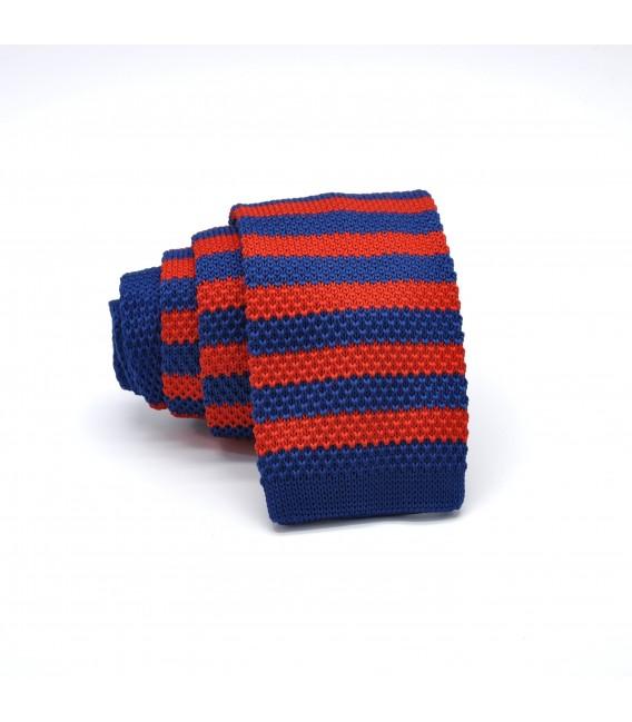 blue- red knit tie