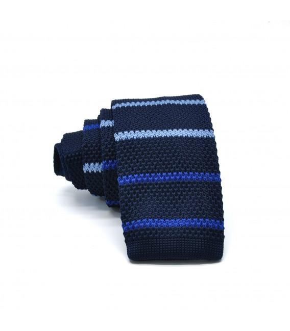 navy blue-blue knit tie