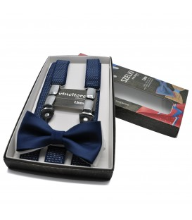 navy blue suspenders with white dots and bow tie
