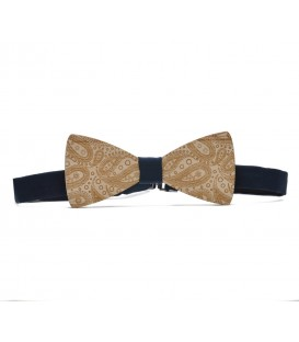wooden bow tie paisley