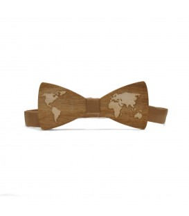 wooden bow tie map of the world