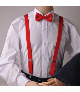 black suspenders with white stripes and bow tie