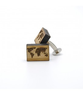 wooden cufflinks map of the world