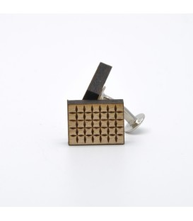 grid wooden cufflinks