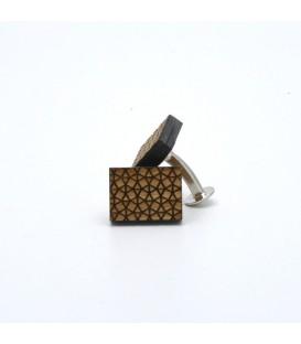 grid wooden cufflinks